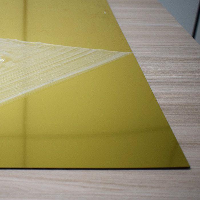 Chapa em Abs Dupla Camada - Aço Escovado Dourado/ Preto