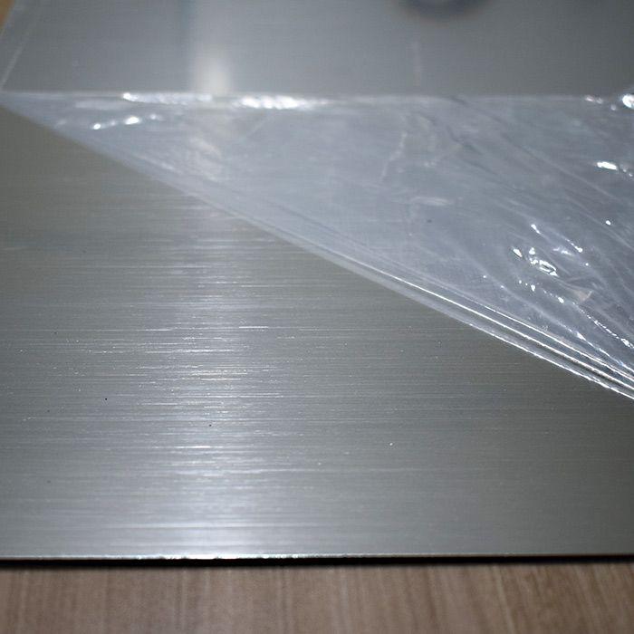 Chapa em Abs Dupla Camada - Aço Escovado Prata/ Preto