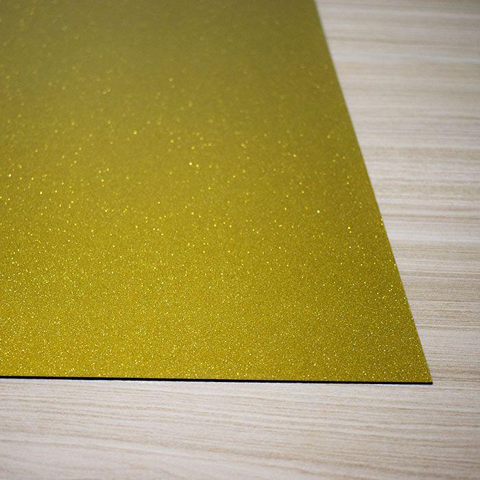 Chapa em Abs Dupla Camada - Dourada com Glitter/ Preto