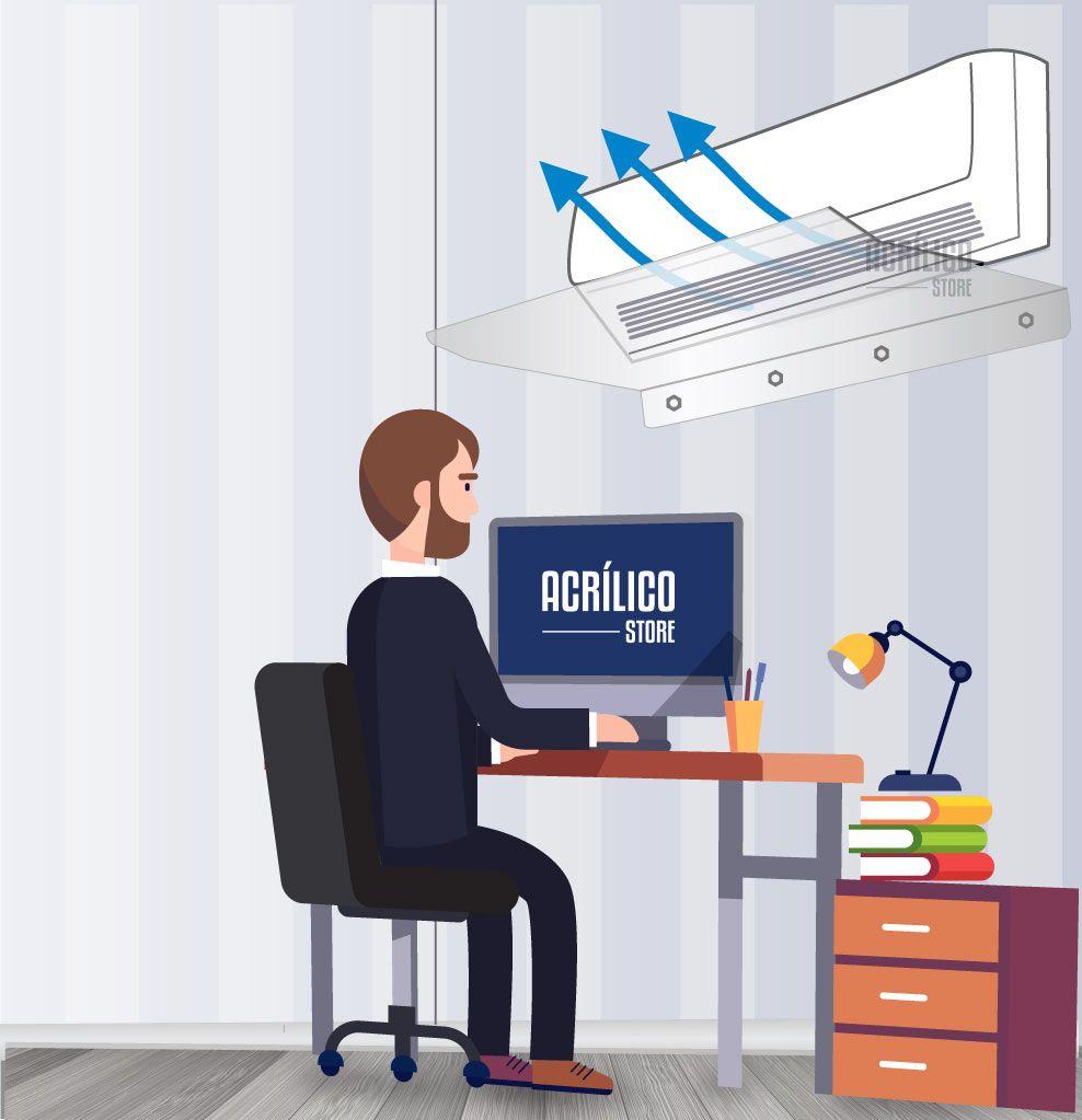 Defletor em Acrílico para Ar Condicionado Split 30.000 BTUS
