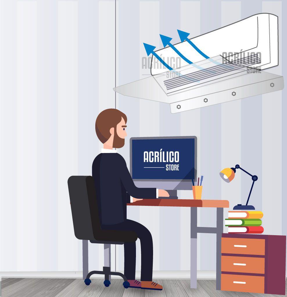 Defletor em Acrílico para Ar Condicionado Split 9 a 12.000 BTUS