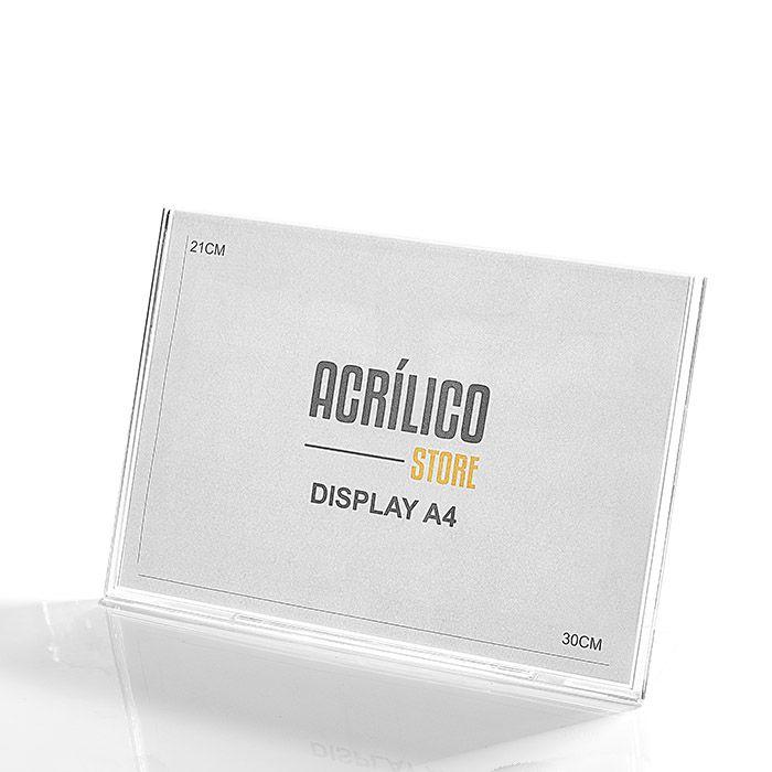Display de Acrílico tipo L A4 Horizontal (21x30cm)