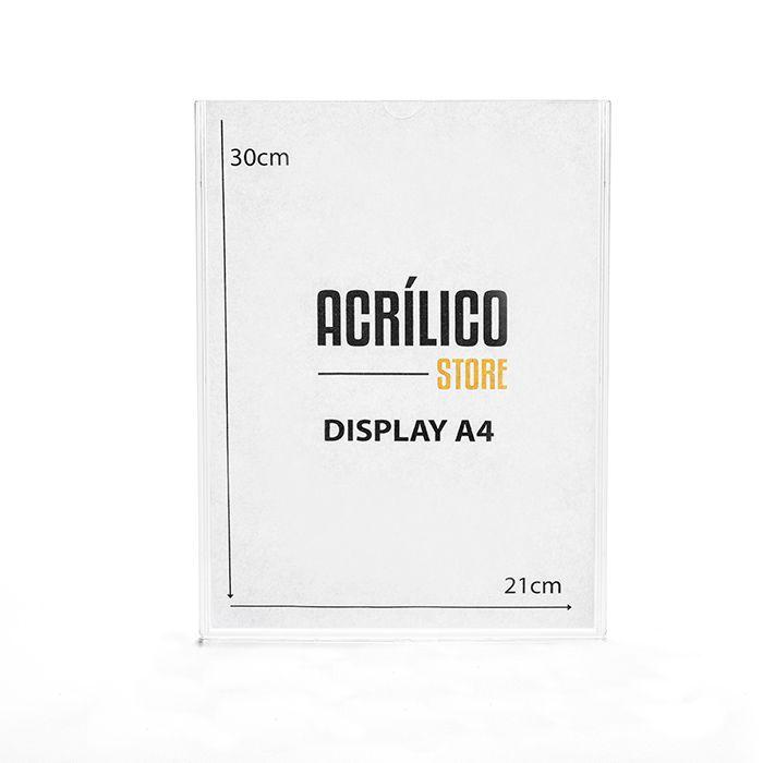 Display em Acrílico Duplo A4 (30x21cm)