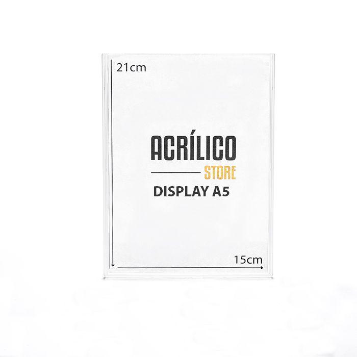 Display em Acrílico Duplo A5 Vertical (15x21cm)