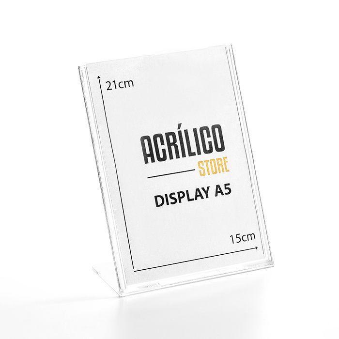 Display em Acrílico Tipo L A5 (21x15CM)