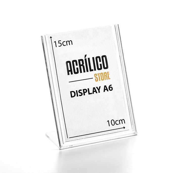 Display em Acrílico Tipo L A6 (15x10CM)