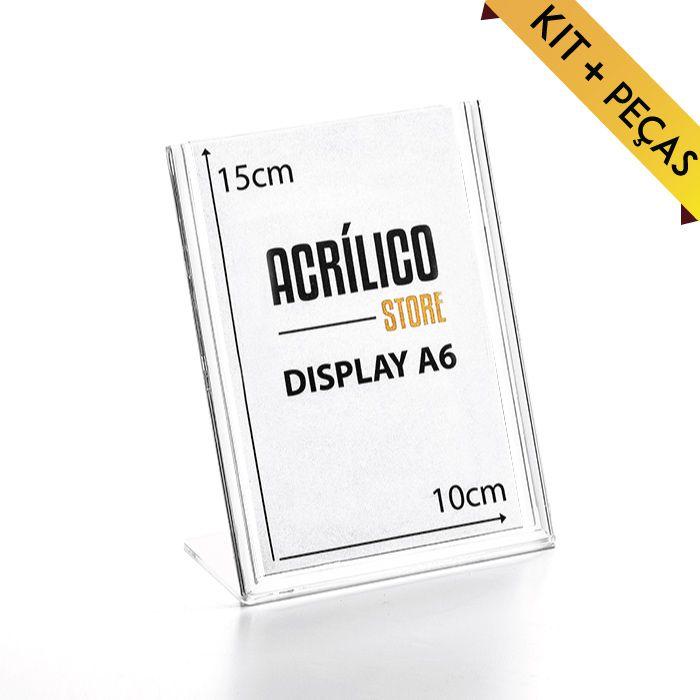 Display em Acrílico Tipo L A6 (15x10cm) Kit 10, 25, 50 e 100 Peças