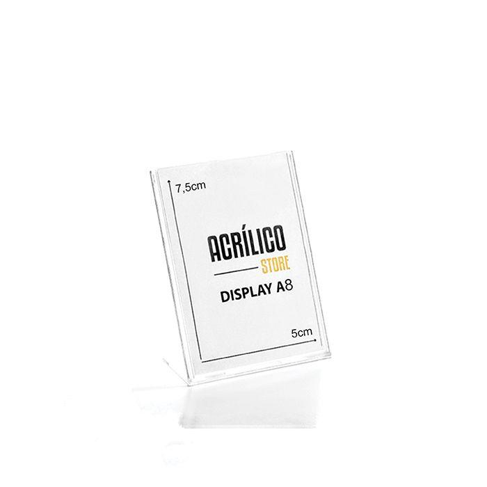 Display em Acrílico Tipo L A8 Vertical (5x7,5cm)