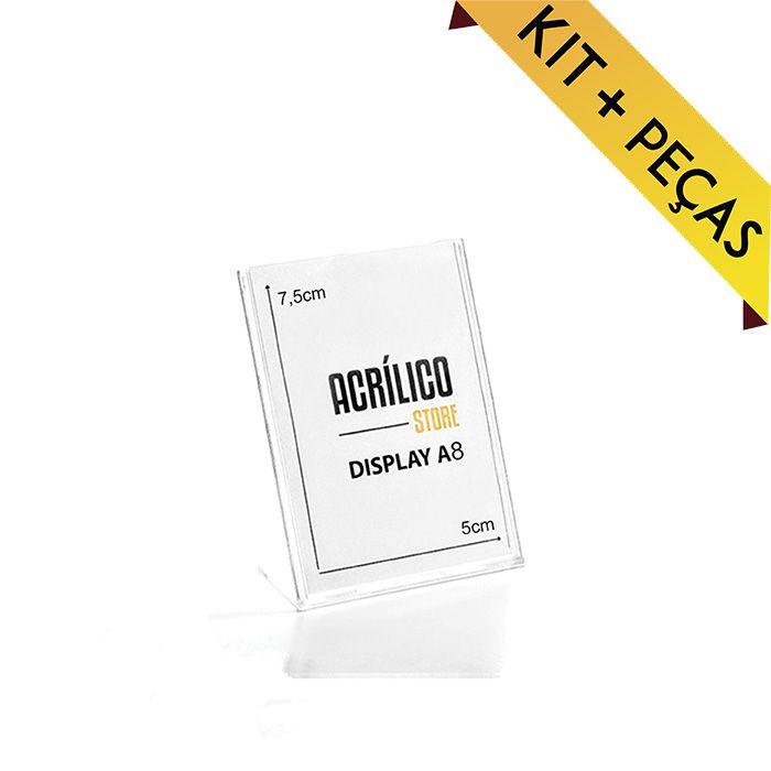 Display em Acrílico Tipo L A8 (7,5x5cm) Kit 10, 25, 50 e 100 Peças
