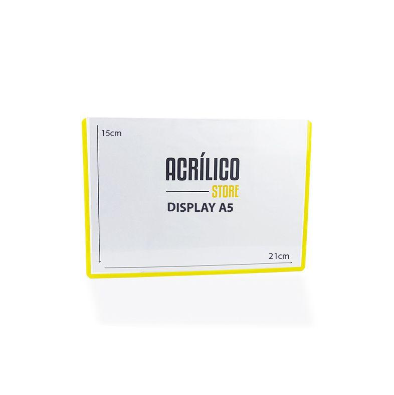 Display em PVC A5 com Borda Amarela