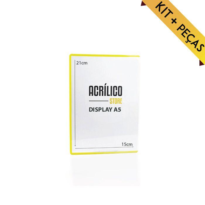 Display em PVC A5 com Borda Amarela - Kit 10, 25 e 50 Peças