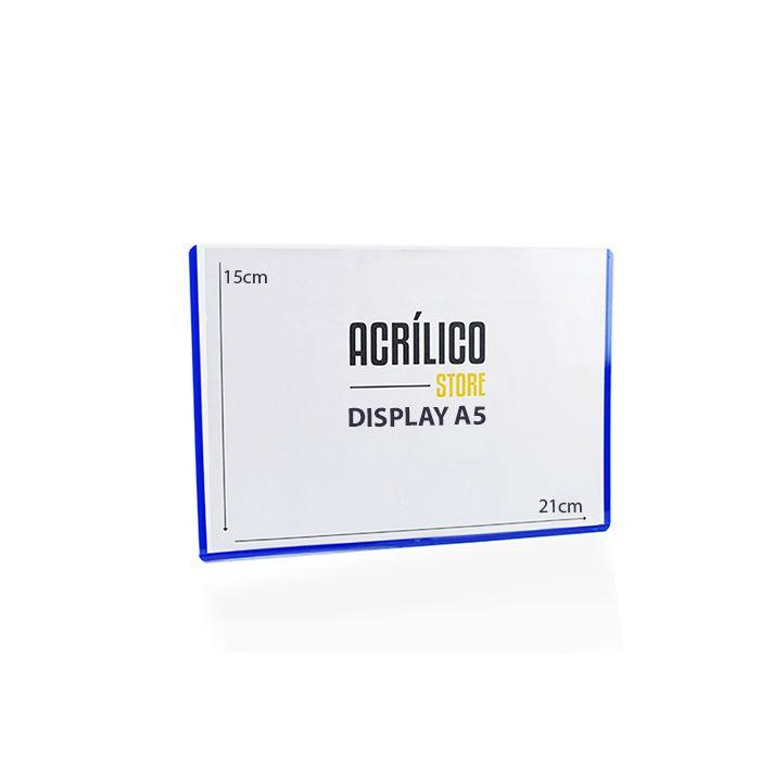 Display em PVC A5 com Borda Azul