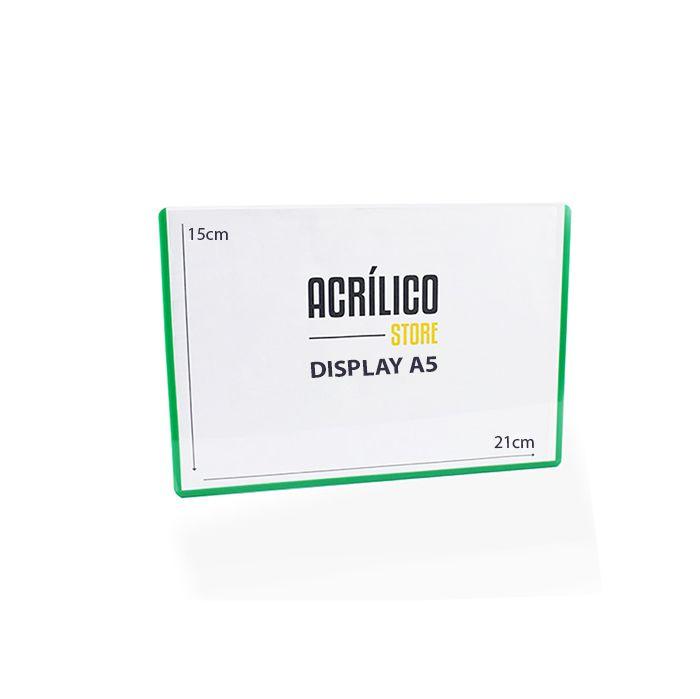 Display em PVC A5 com Borda Verde - Kit 10, 25 e 50 Peças