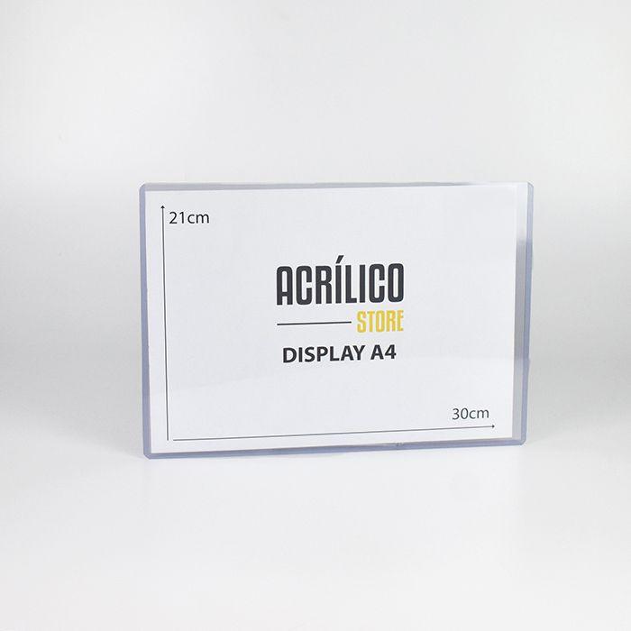 Display Transparente A4 (30x21cm) - Kit 100 Peças