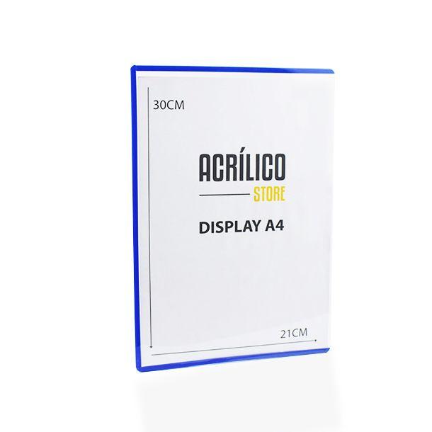 Display Transparente A4 com Borda Azul (30x21cm)