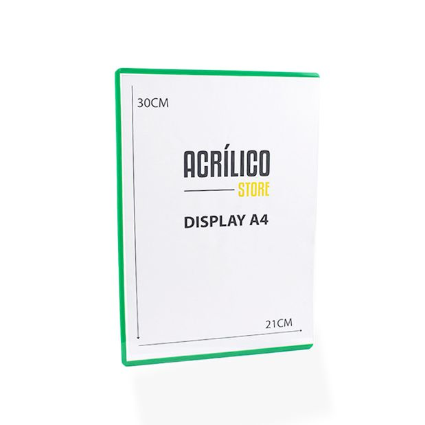 Display Transparente A4 com Borda Verde (30x21cm)