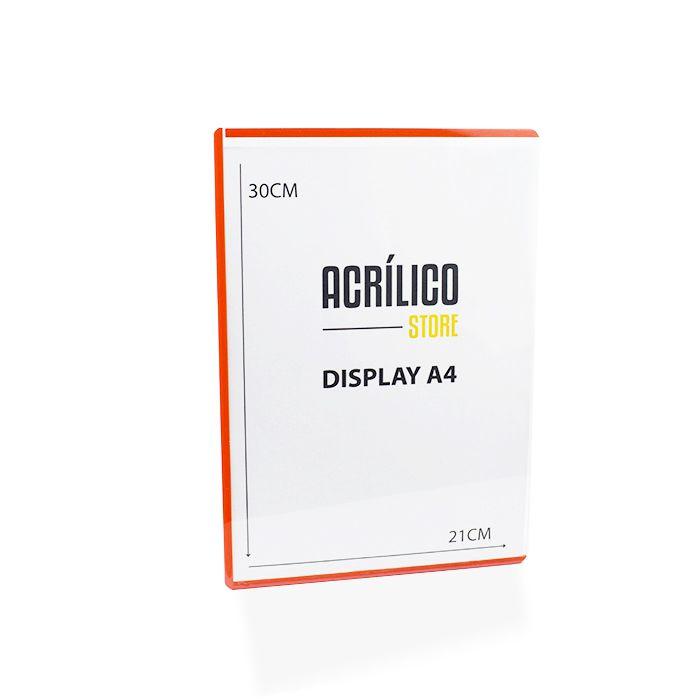 Display Transparente A4 com Borda Vermelha (30x21cm)