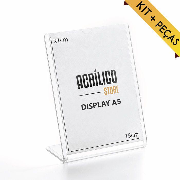 Display transparente Tipo L A5 (21x15cm) Kit 10, 25, 50 e 100 Peças