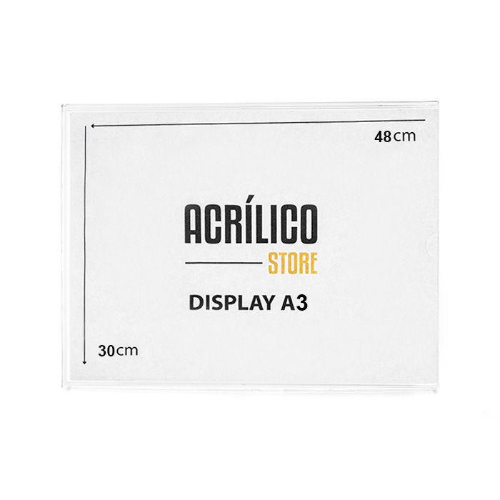 Kit Display em Acrílico Duplo A3 Vertical (30x42cm) - 100 peças