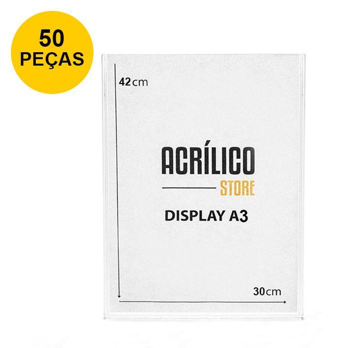 Kit Display em Acrílico Duplo A3 Vertical (30x42cm) - 50 peças