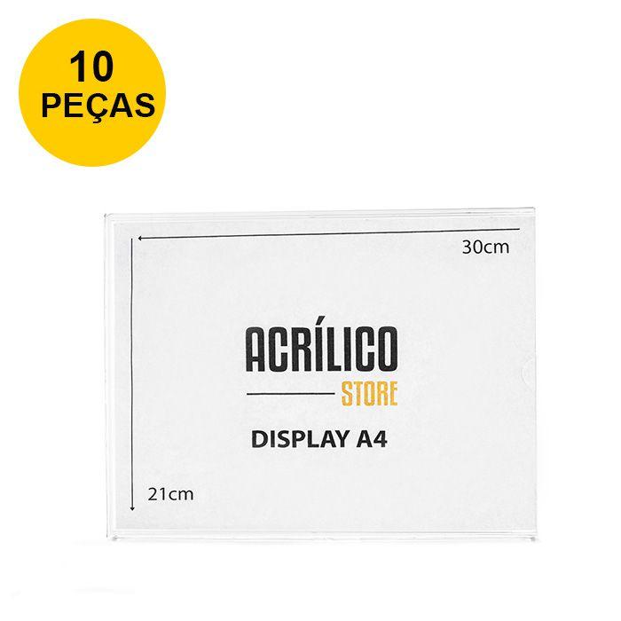 Kit Display em Acrílico Duplo A4 Horizontal (30x21cm) - 10 peças