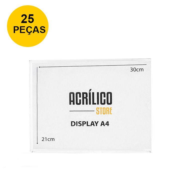 Kit Display em Acrílico Duplo A4 Horizontal (30x21cm) - 25 peças