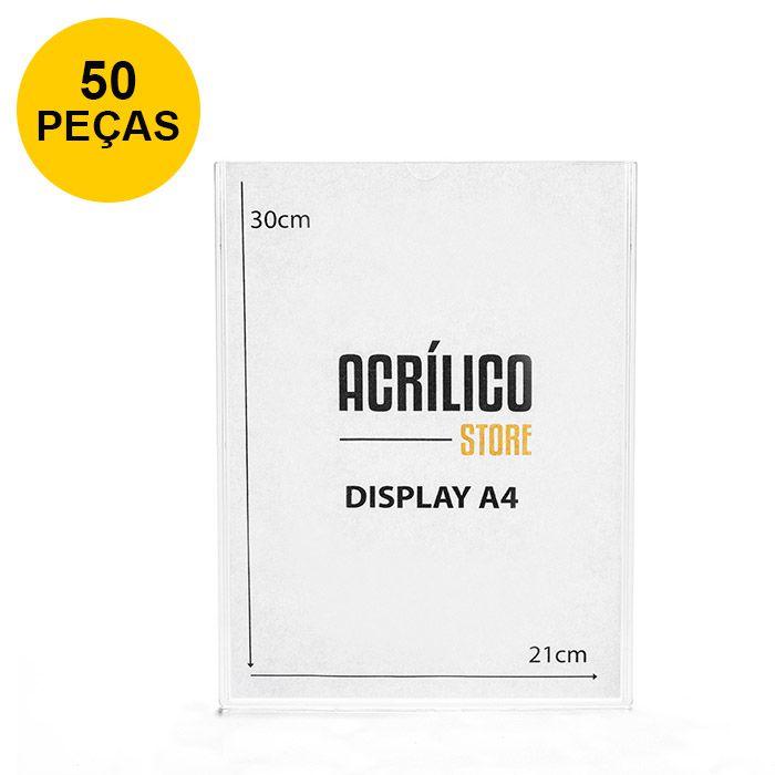 Kit Display em Acrílico Duplo A4 Vertical (21x30cm) - 50 peças