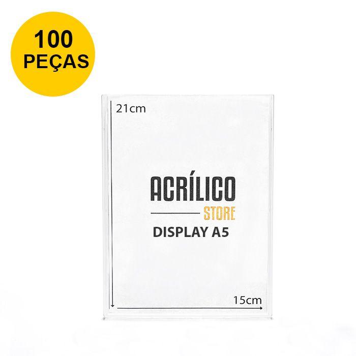 Kit Display em Acrílico Duplo A5 Vertical (15x21cm) - 100 peças