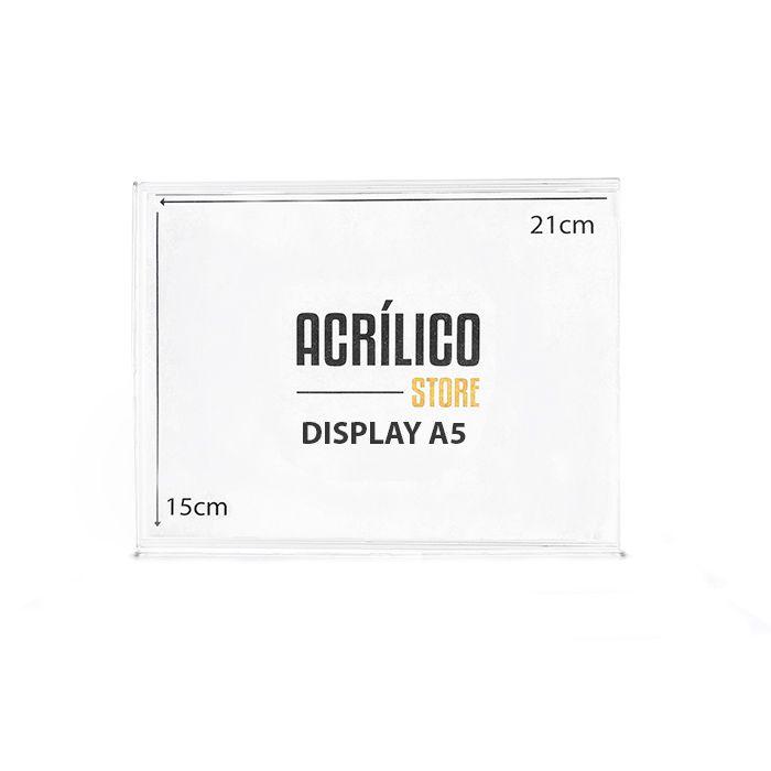 Kit Display em Acrílico Duplo A5 Vertical (15x21cm) - 50 peças