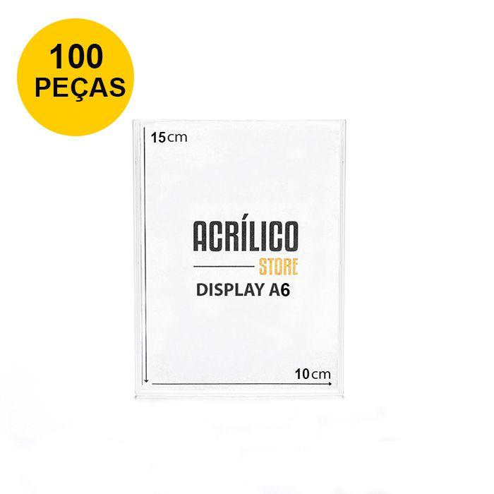 Kit Display em Acrílico Duplo A6 Vertical (10x15cm) - 100 peças