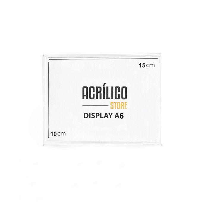 Kit Display em Acrílico Duplo A6 Vertical (10x15cm) - 10 peças