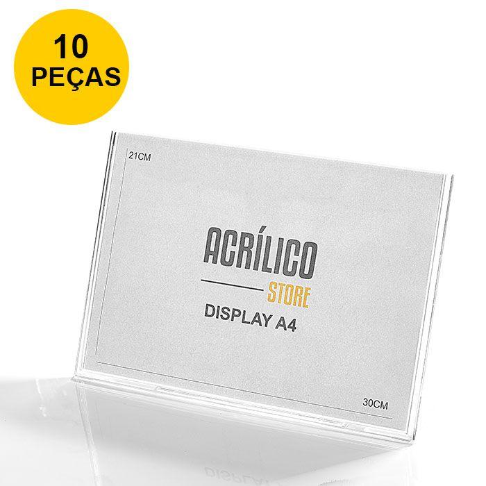 Kit Display em Acrílico Tipo L A4 Horizontal (30x21cm) - 10 Peças