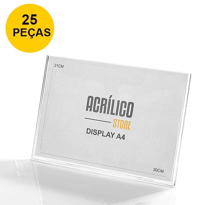 Kit Display em Acrílico Tipo L A4 Horizontal (30x21cm) - 25 Peças