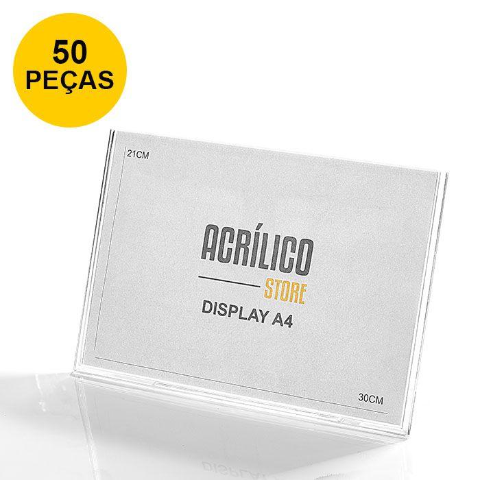 Kit Display em Acrílico Tipo L A4 Horizontal (30x21cm) - 50 Peças