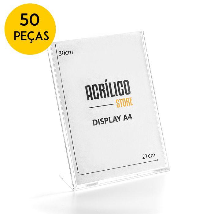 Kit Display em Acrílico Tipo L A4 Vertical (21x30cm) - 50 Peças