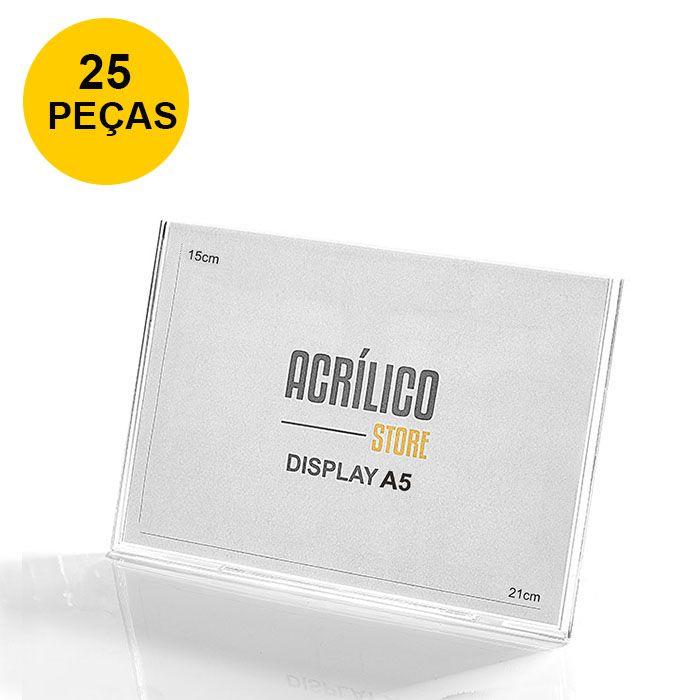 Kit Display em Acrílico Tipo L A5 Horizontal (21x15cm) - 25 Peças