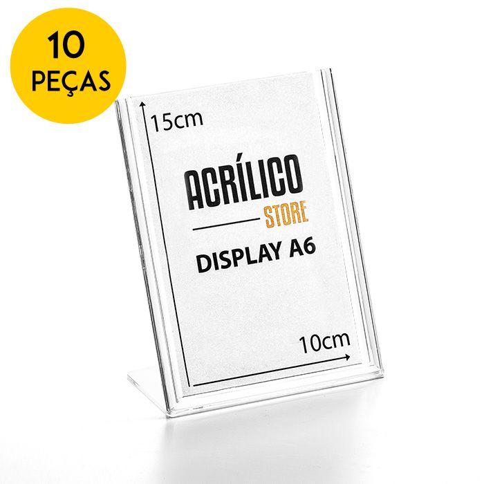 Kit Display em Acrílico tipo L A6 Vertical (10x15cm) - 10 Peças