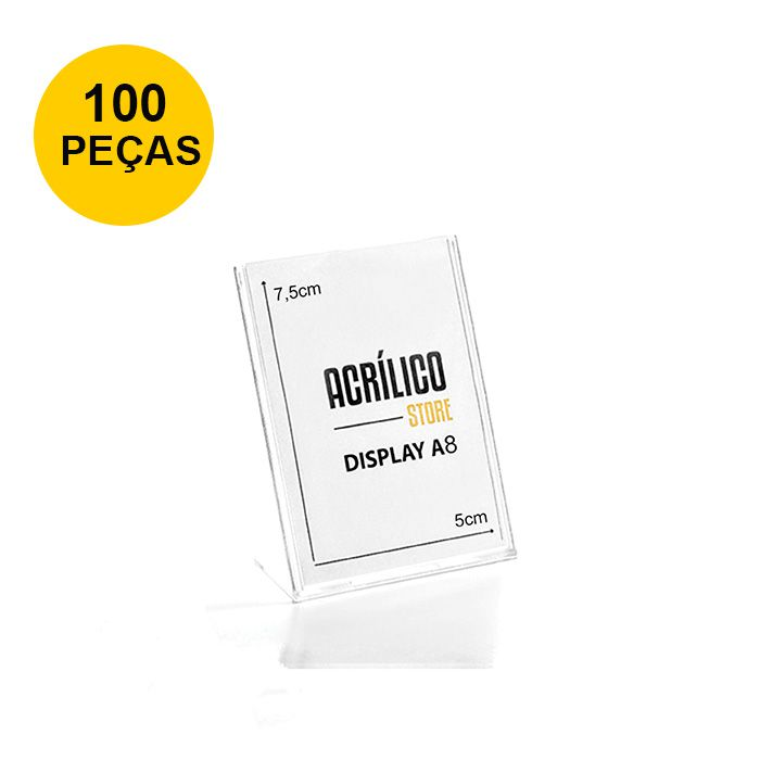 Kit Display em Acrílico tipo L A8 Vertical (5x7,5cm) - 100 Peças