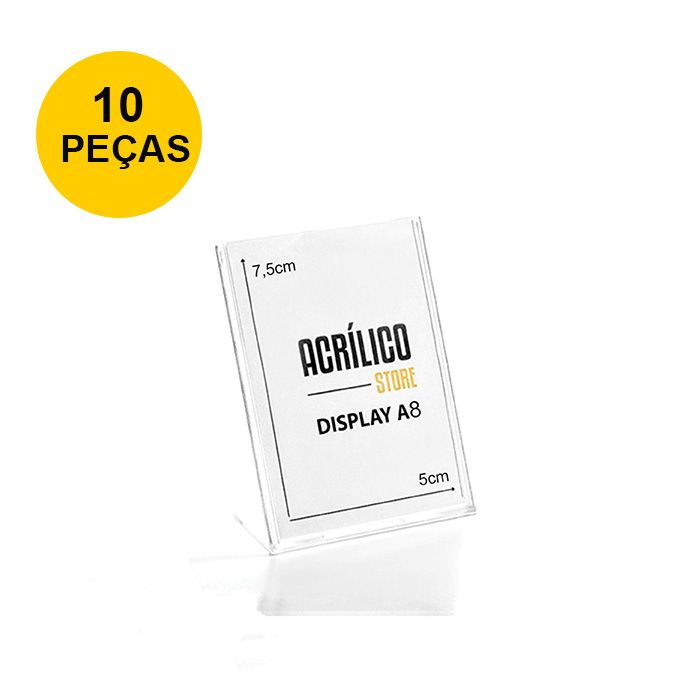 Kit Display em Acrílico tipo L A8 Vertical (5x7,5cm) - 10 Peças