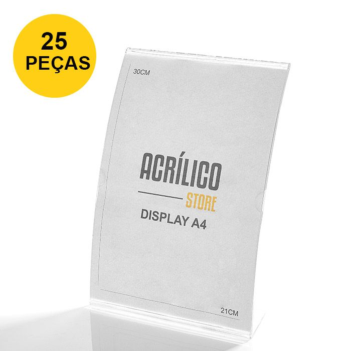 Kit Display em Acrílico tipo L Curvado A4 Vertical (21x30cm) - 25 Peças