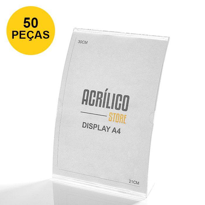 Kit Display em Acrílico tipo L Curvado A4 Vertical (21x30cm) - 50 Peças