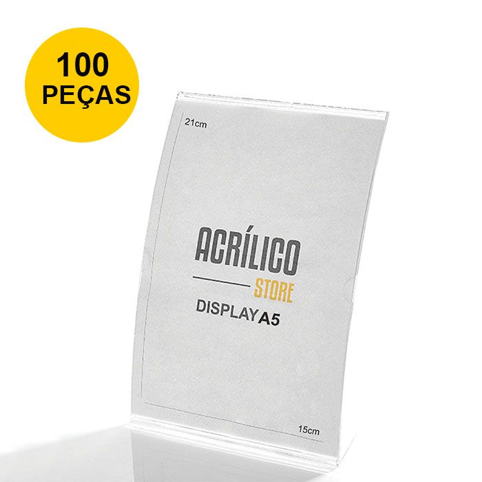 Kit Display em Acrílico tipo L Curvado A5 Vertical (15x21cm) - 100 Peças