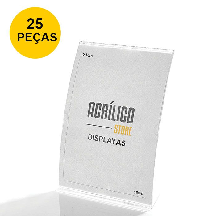 Kit Display em Acrílico tipo L Curvado A5 Vertical (15x21cm) - 25 Peças