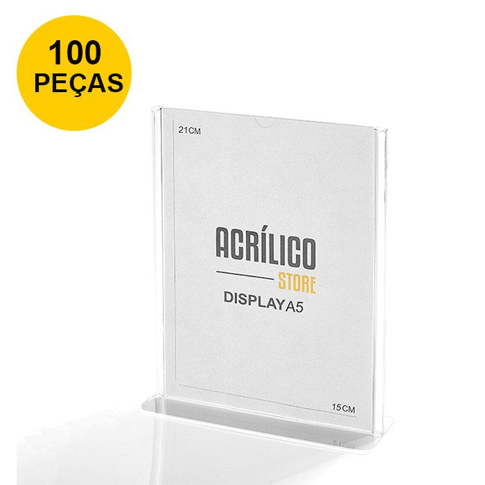 Kit Display em Acrílico Tipo T A5 Vertical (15x21cm) - 100 Peças