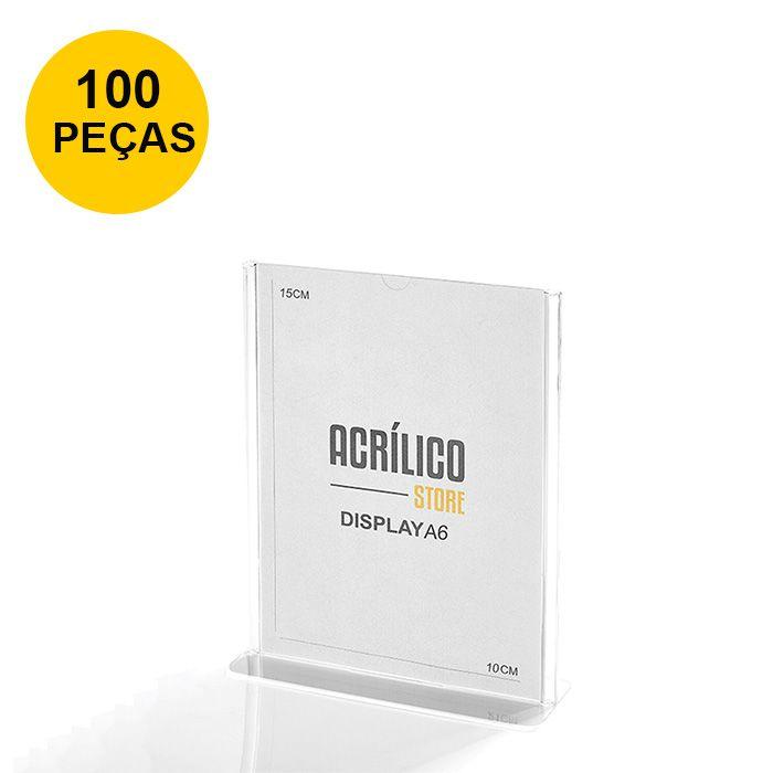 Kit Display em Acrílico Tipo T A6 Vertical (10x15cm) - 100 Peças