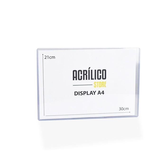 Kit Display Transparente A4 Vertical (21x30cm) - 10 Peças