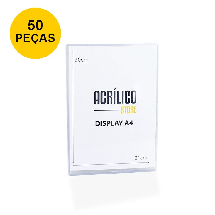 Kit Display Transparente A4 Vertical (21x30cm) - 50 Peças