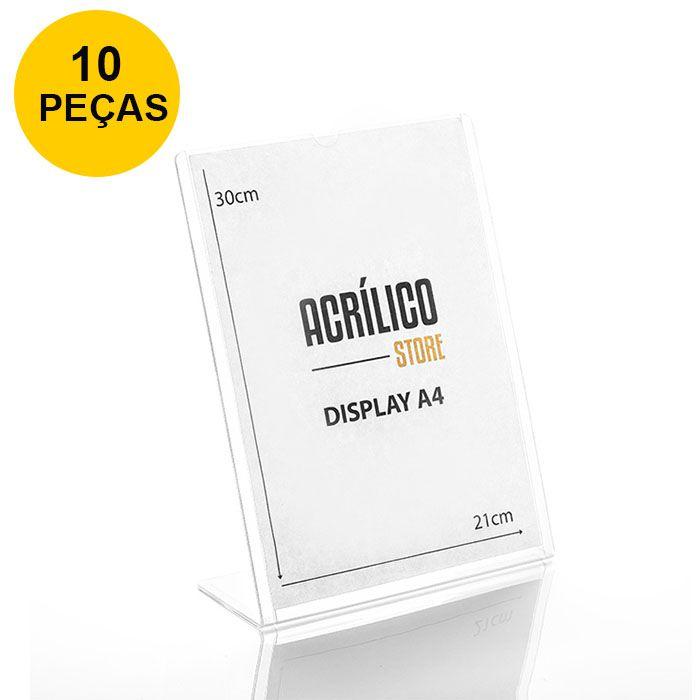 Kit Display transparente tipo L A4 Vertical (21x30cm) - 10 Peças