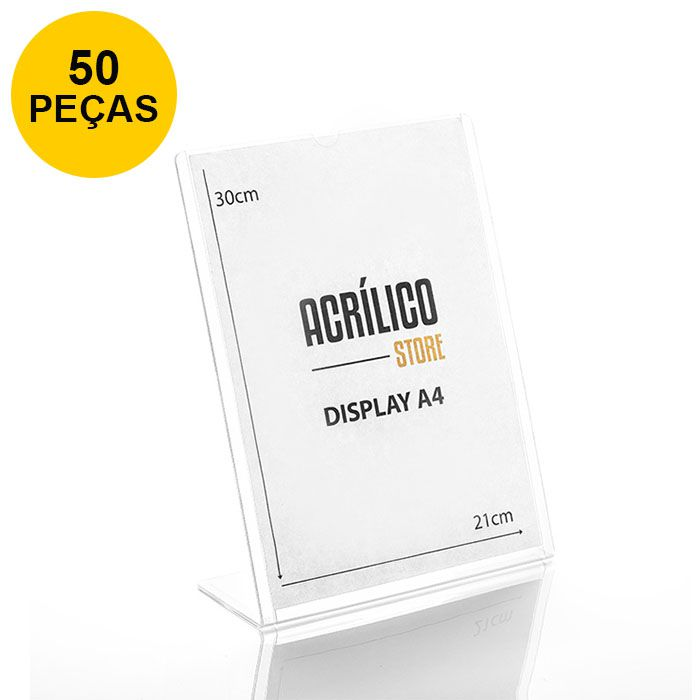 Kit Display transparente tipo L A4 Vertical (21x30cm) - 50 Peças