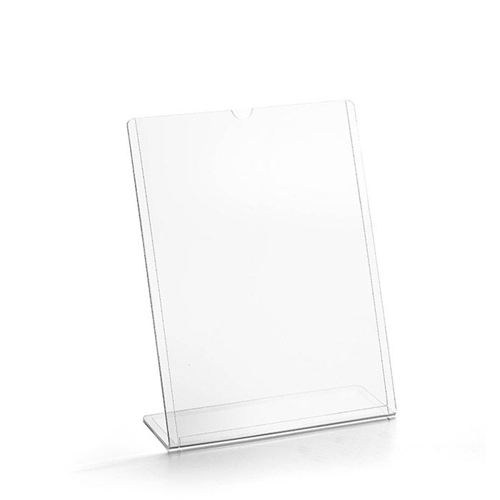 Kit Display transparente tipo L A5 Vertical (15x21cm) - 25 Peças